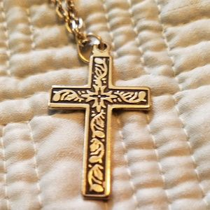 Cross necklace religious  gold black tone